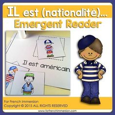 For French Immersion Emergent Reader - He is (nationality) - IL est (nationalité) - en français