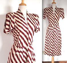 Vintage 1940's Dress // 40s Auburn and Powder by TrueValueVintage