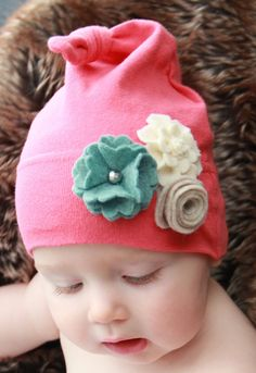 Organic Cotton Baby Hat with Felt Flower Embellishments