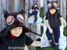 Crochet Owl hat by KrazyHats1 on Etsy, $20.99