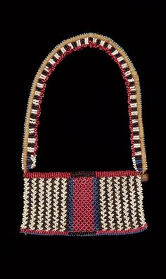 South Africa | Necklace from the Zulu people; glass beads, fiber and brass button ||  Indianapolis Museum of Art, USA
