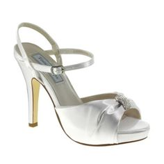 CLOSEOUT PRICE...WHILE SUPPLIES LAST!!Liz Rene Amelia Dyeable White or Black Satin Rhinestone Bridal High Heel Shoe