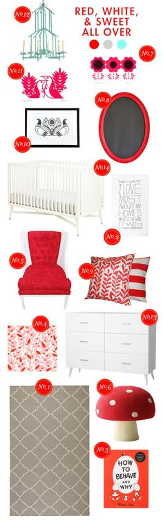 red-white-&-sweet all over nursery inspiration board. #pinhonest