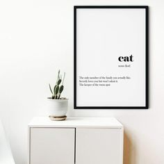Framed Cat definition print, cat quote gift, Word Definition Wall Art Print, cat lover Print, cat Wall Art - A5 Unframed / White