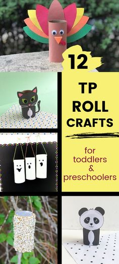 Easy DIY toilet paper roll crafts for kids. Includes a Thanksgiving turkey, black cat and ghosts for fall and Halloween, homemade bird feeder with peanut butter, and panda bear. Fun art project for preschoolers and toddlers at home or school