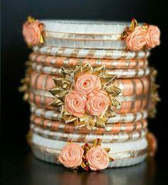 Gotta Patti Thread Bangl e Silk Thread Bangles Design, Silk Bangles, Bridal Bangles, Thread Jewellery, Fabric Jewelry, Flower Jewelry, Silver Bracelets, Silver Jewelry, Gota Patti Jewellery