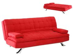 Sofá cama clic-clac de microfibra MIAMI - Rojo