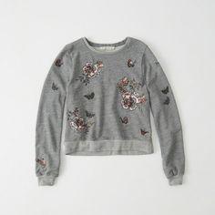 Abercrombie & Fitch Embellished Crew Sweatshirt ($58) ❤ liked on Polyvore featuring tops, hoodies, sweatshirts, embeillshed grey, floral crewneck sweatshirt, grey sweatshirt, grey crew sweatshirt, grey crewneck sweatshirt and gray sweatshirt