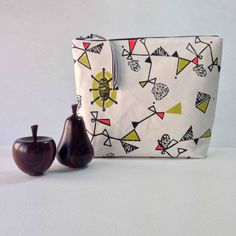 Large hand printed Pouch - Atomic Twist