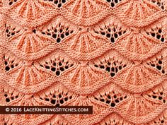 Lace knitting stitch of the Month - August # Alsacian Scallops. Skill Level: Intermediate Lace knitting stitch of the Month - August # Alsacian Scallops. Lace Knitting Stitches, Lace Knitting Patterns, Arm Knitting, Knitting Charts, Lace Patterns, Stitch Patterns, Knitting Machine, How To Purl Knit, Knit Crochet