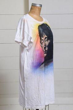 65835c0081b 80s John Lennon Airbrush Oversized T Shirt Dress
