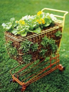 Container Gardening Ideas Toy Shopping Cart Filled with Flowers - If you're looking a garden idea with a pot with a low budget? Take a look at these 31 creative repurposed garden container ideas in this post. Herb Garden, Garden Art, Garden Design, Micro Garden, Garden Beds, Big Garden, Garden Spaces, Container Gardening, Gardening Tips