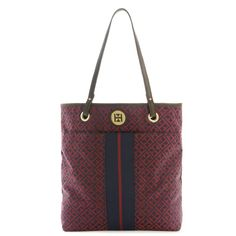 Tommy Hilfiger Signature Jacquard Logo Tote in Brown (navy/red) | Lyst