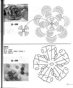 Flores a ganchillo con gráfico