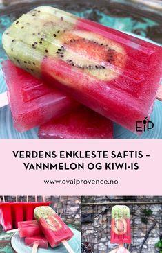 Verdens enkleste saftis - vannmelon og kiwi-is Kiwi, Watermelon, Fruit, Food, The Fruit, Meals, Yemek, Eten