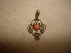 "Antique Art Nouveau 14k Yellow Gold CORAL & PEARL LAVALIER Pendant Necklace ~ (1-1/4"" x 3/4"") ~ (2.2 grams) by PastPossessionsOnly on Etsy"