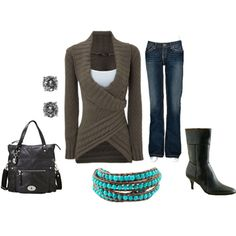 Love this sweater!! not sure about the  boots, don't much like the medium heel. Got to make a bracelet like that!
