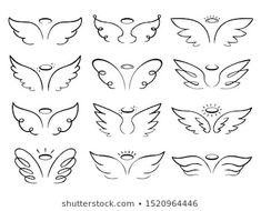 Illustrazione stock 1498014647 a tema Angel Wings Drawing Illustration Winged Angelic Dainty Tattoos, Pretty Tattoos, Cute Tattoos, Tattoos Skull, Sleeve Tattoos, Small Wing Tattoos, Tatoos, Belly Tattoos, Little Tattoos