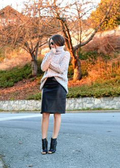fashion magazine grey trend, turtleneck, zara, leather pencil skirt, cut out booties, fall fashion trends, fall must have, park royal giveaway, #escapetoparkroyal