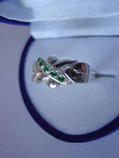 Sterling Silver 4 Band 0.12ct Emerald Turkish Puzzle Ring - Sizes 4 to 12 #Dimenticare #Band