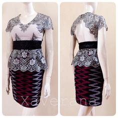 Modern kebaya dress batik Instagram @xaverana Kebaya Lace, Kebaya Dress, Batik Dress, Peplum Dress, Modern Kebaya, Beautiful Dresses, Hair Beauty, Blouse, Ethnic
