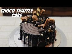 Choco Truffle Cake, Chocolate Ganache Cake, Chocolate Wine, Dark Chocolate Truffles, Dark Chocolate Cakes, Cake Decorating For Beginners, Cake Decorating Videos, Decorating Ideas, Simple Birthday Cake Designs