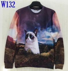 [Mikeal] New Fashion Women's 3D Hoodies Funny printed animal Standing cat space galaxy 3d sweatshirts hoody tops