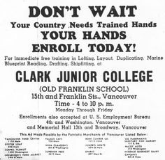 War trining ad from the Vancouver Columbian, June 8, 1943.