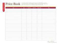 Use these free kitchen printables to organize your pantry, fridge, freezer and more.: Printable Price Book
