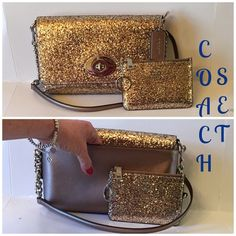 "💕NWT💕  Coach Crosstown Crossbody W/Coin Pouch Coach Silver/Gold Glitter Crosstown Crossbody with matching Coin Pouch keychain. Bag has Glitter front and Leather back in the color of bronze, leather and chain crossbody strap (45"") and removable so bag can also be used as a clutch. Nickel hardware, turn lock closure. Full length exterior pocket and hang tag. Sateen fabric interior with slip pocket. 10""x7""x2"". Matching Coin Pouch w/Keyring also in nickel, zip closure 5.5""x4"". Looks just as…"