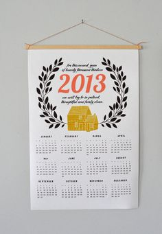 2013 Canvas Home Calendar by spreadthelove on Etsy, $35.00 . . . i wish i had more room for calendars -  i have an obsession