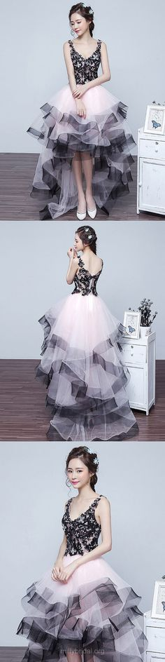 High Low Prom Dresses Lace, Princess Party Dresses V-neck, Tulle Formal Dresses Asymmetrical, Modest Evening Dresses Women