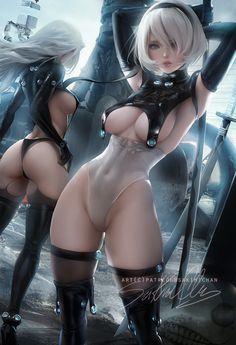 Nier 2b a2 Gantz crossover, sakimi chan on ArtStation at https://www.artstation.com/artwork/X5wx0