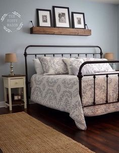 Iron bed frame, Shanty 2 Chic floating shelf, Ana White night stands, jute rug, and over all colors of the room