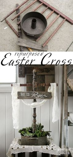 made from Repurposed Materials Easter Cross Made from Repurposed Parts and Vintage Cake Pan Turned Succulent Planter by Prodigal Pieces Crafts To Do, Decor Crafts, Diy Crafts, Easter Projects, Easter Ideas, Easter Decor, Easter Centerpiece, Tall Centerpiece, Wedding Centerpieces