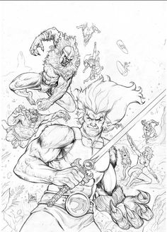 thundercats comission original art cheetara lion o panthro all cast - Thunder Cats Coloring Book Pages
