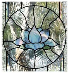 Blue lotus in the middle of some really creative glass panels Custom Stained Glass, Faux Stained Glass, Stained Glass Designs, Stained Glass Panels, Stained Glass Patterns, Leaded Glass, Stained Glass Flowers, Stained Glass Projects, Mosaic Art