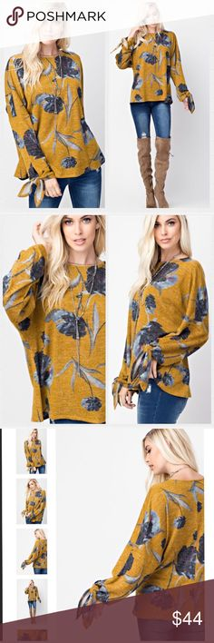 🍁STUNNING🍁 Mustard Floral Print Top. M-L Perfect for the upcoming holiday season. 🍂🍁🌿 Mustard Floral Print, stubbed, raw edge knit, oversized top. Ties at sleeves.  Available in M-L  Made is USA 🇺🇸 Tops Tunics