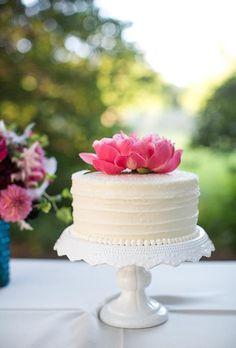 gorgeous one tier white cake - Google Search