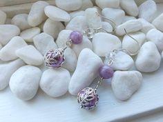 Handmade Purple Glass Earrings and Beautiful Filigree Design by ZaZaJewels on Etsy