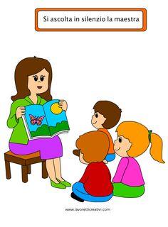 regole-scolastiche-disegni-5 Preschool Rules, Preschool Colors, Cute Cartoon Images, Classroom Rules, School Teacher, Sunday School, Coloring Books, Illustrations, Activities