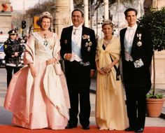 King Constantine and Queen Anne Marie of Greece with the Crown Prince and Princess Pavlos of Greece