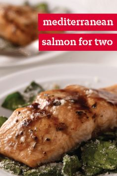 Mediterranean Salmon for Two – Five ingredients and 25 minutes are all you need to make this delicious and flavorful seafood dish. Check out the recipe to see how simple this impressive dinnertime creation can be for date night!