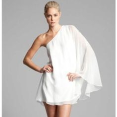 Going greek? Simple but oh so beautiful Marciano dress. Now imagine a beach reception. Pin on, Thuy Rehearsal Dress, Guess By Marciano, Bridal Shower, One Shoulder, White Dress, My Style, How To Wear, Vice President, Color