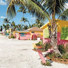 Colorful cottages on Pine Island, Florida.
