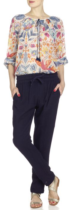 Pantalon droit Oriane en coton Bleu by ANTIK BATIK