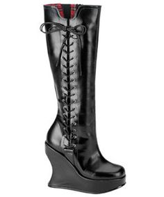 BRAVO-100 Black Wedge Boots - platform boots, gothic boots, punk boots