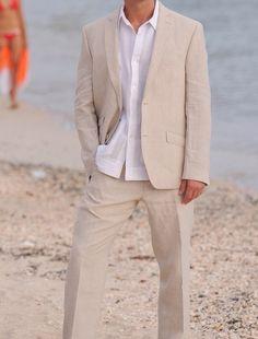 Linen Suit no tie