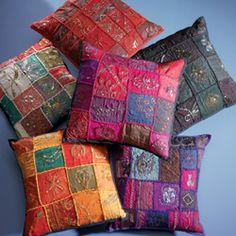 Hippy Cushion Cover~Ethnic Ari Patchwork Handwoven Cushion Cover~Fair Trade by Folio CC208