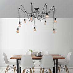 Černé stropní svítidlo s 9 žárovkami Filament Style Spider Lamp Spider Lamp, Spider Light, Black Spider, Dining Room Lighting, Kitchen Lighting, Boho Lighting, Lighting Design, Lighting Warehouse, Edison Lampe